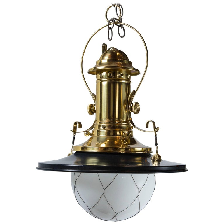 Wired White Globe Black and Brass Lantern