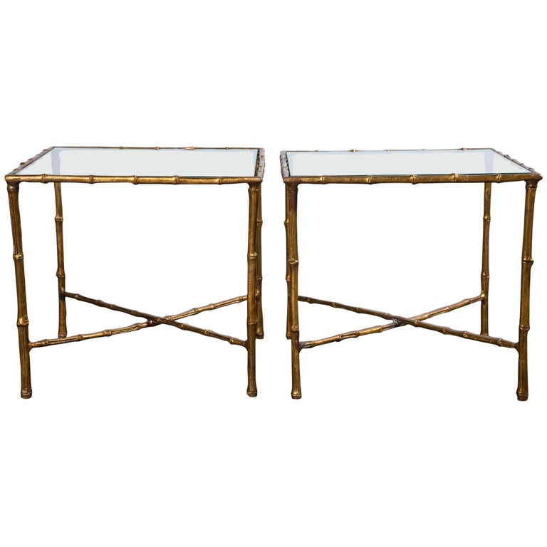 Pair of Gilt Metal Faux Bamboo Glass Top Tables For Sale