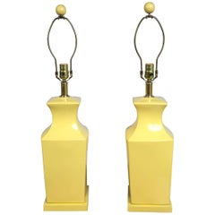 Pair of Chinoiserie Style Yellow Pottery Lamps