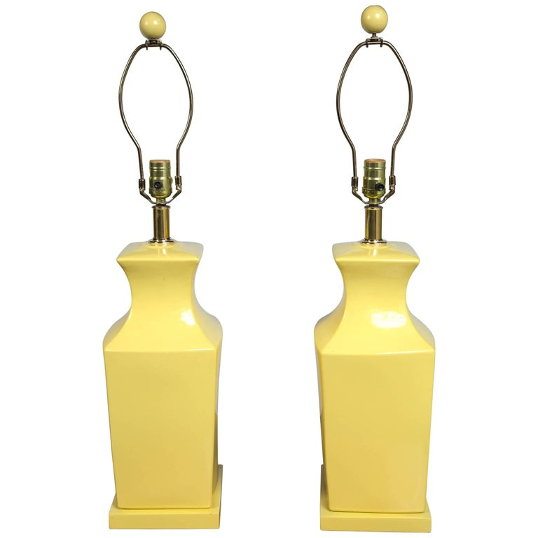 Pair of Chinoiserie Style Yellow Pottery Lamps For Sale