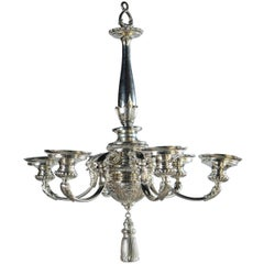 Silver Plated Neoclassic Style Caldwell Chandelier, circa 1930