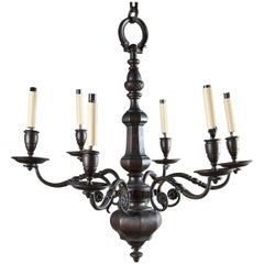 1900 Caldwell Brown Patined Bronze Six-Light Chandelier