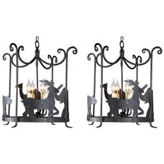 Pair of Whimsical Iron Chandeliers