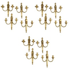 Set of 12 circa 1920s Gilt Bronze Sconces
