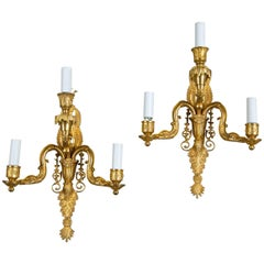 Pair of 1930 French Empire Style Sconces with Three Lights