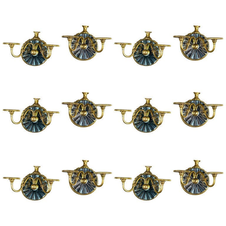 Set of 12 Silver Plate Caldwell Sconces with Cut Mirrored Backplate