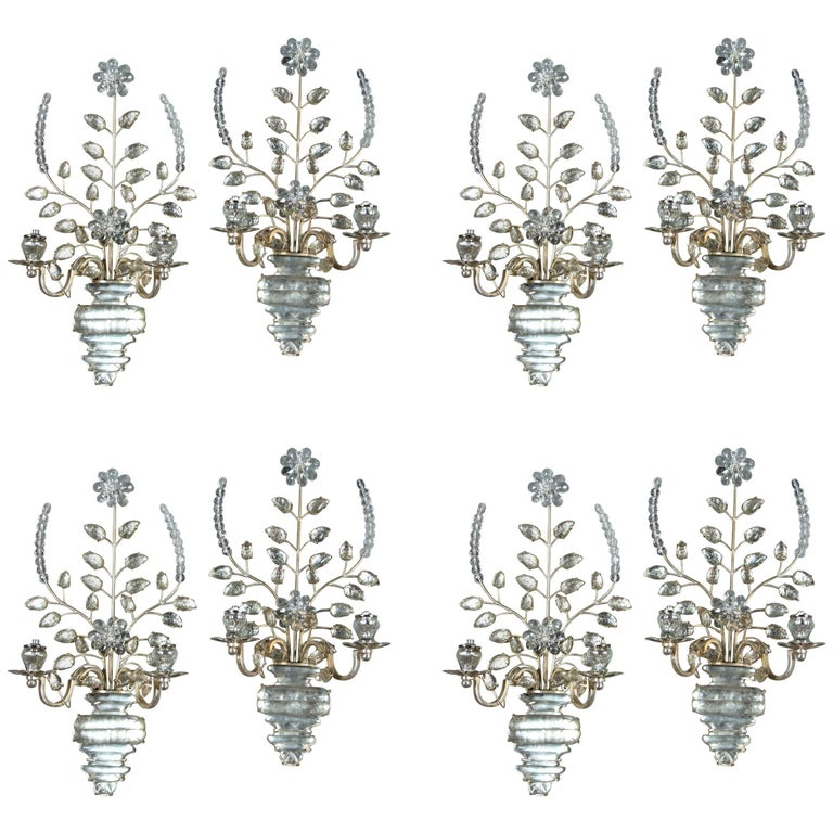 Set of Eight, circa 1930 French Silver Plated Sconces