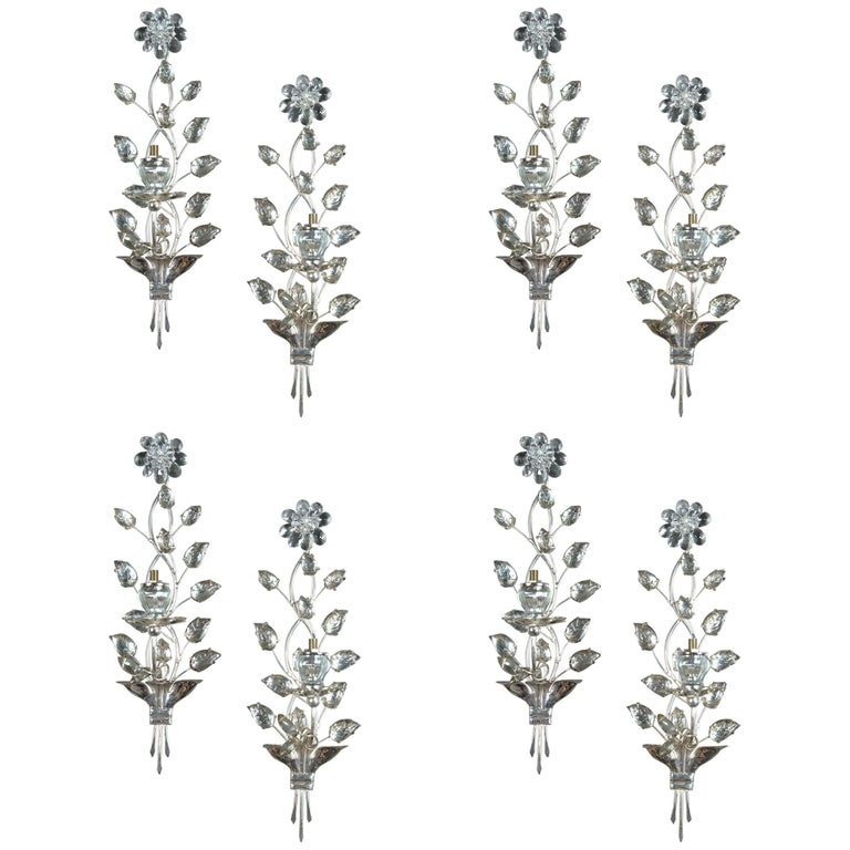 Set of Eight circa 1940 French Silver Plated Sconces with One Light