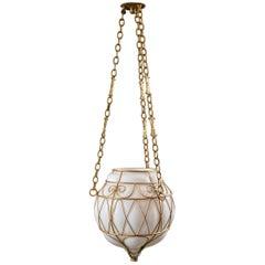 Moroccan White Glass Globe Hanging Pendant