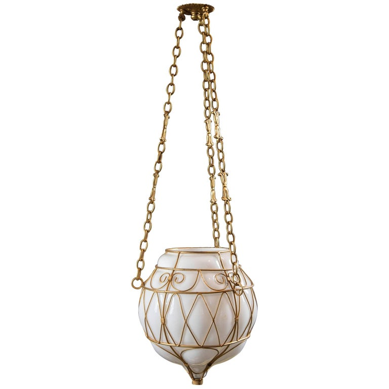 Moroccan White Glass Globe Hanging Pendant For Sale