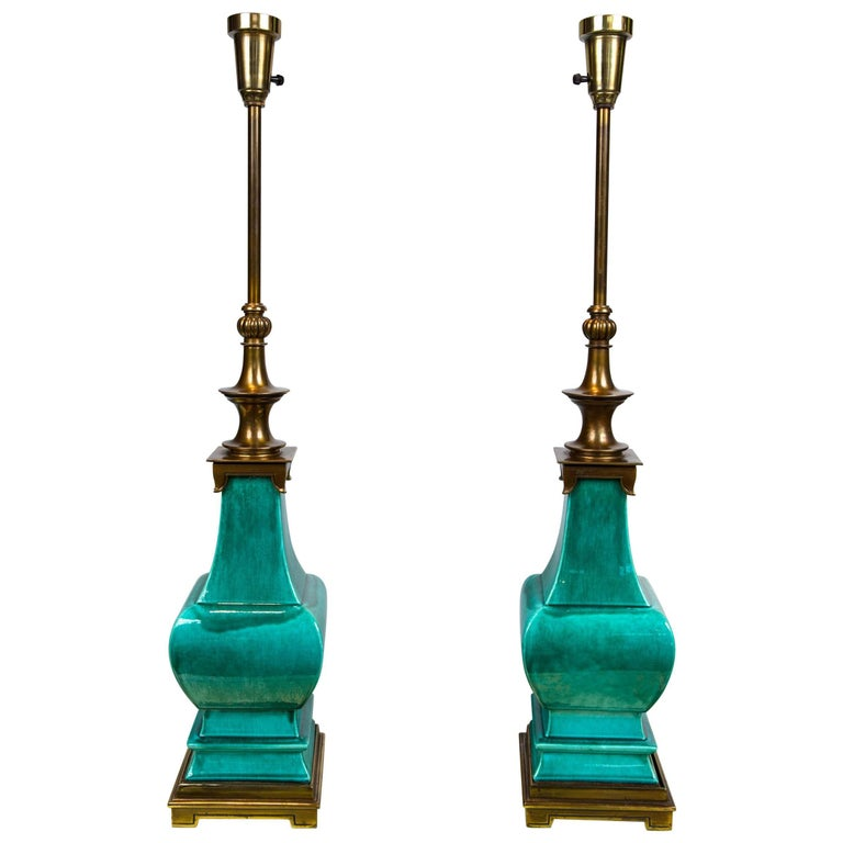 Pair of Midcentury Green Glazed Pagoda Style Stiffel Lamps
