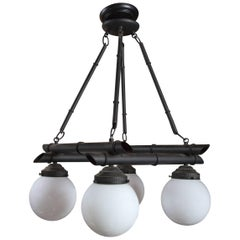 Four White Globe Black Metal Faux Bamboo Chinoiserie Chandelier