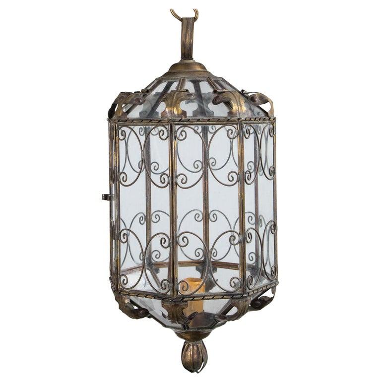 Octagonal Italian Metal Lantern For Sale