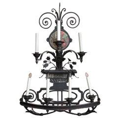 Decorative 7-Light Large Black Wrought Iron Sconce