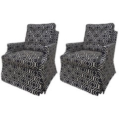 Pair of Brown Brothers Tufted Black and off White Petite Club Chairs