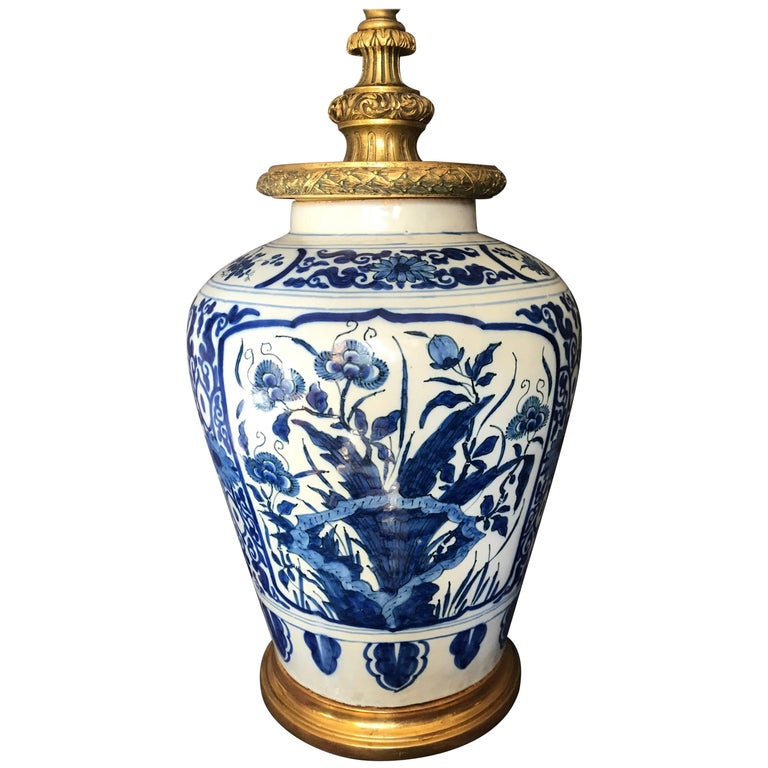 Dutch Delft Blue And White Lamp For Sale At 1stdibs