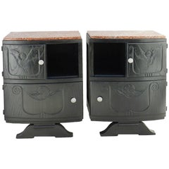 Pair of Art Deco Nightstands Ebonized Bedside Tables French Side Cabinets