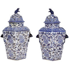 Pair of Large Hexagonal Ironstone Vases & Covers, Mason's Ironstone, circa 1845