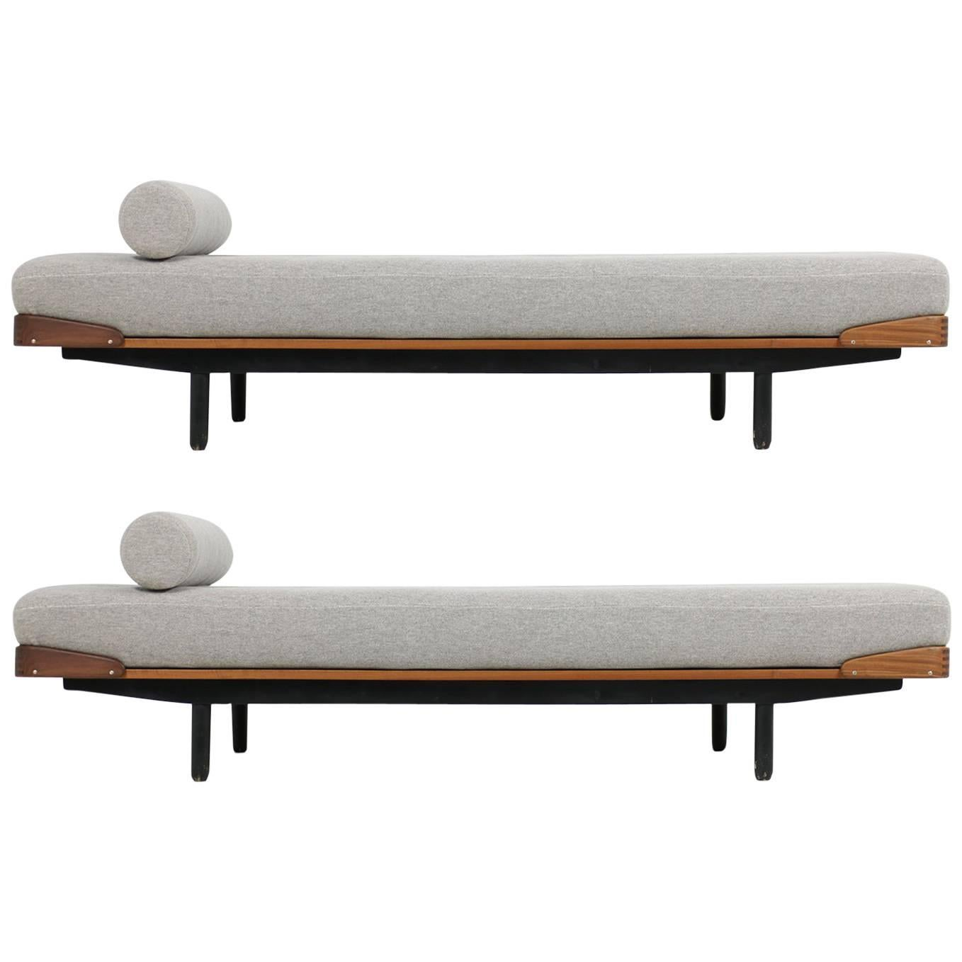 1 of 2 super rare 1960s teak daybed made in norway by asko new upholstery sofa