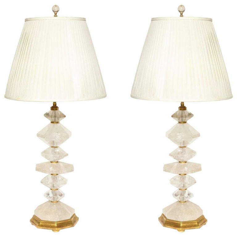 Pair of New Rock Crystal Table Lamps