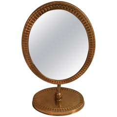 Swedish Brass Oval Shape Table Mirror, 1950