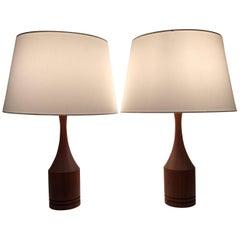 Pair of Danish or Swedish Teak Table Lamps, 1955
