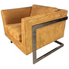 Milo Baughman Chrome Wrapped Cube Chair