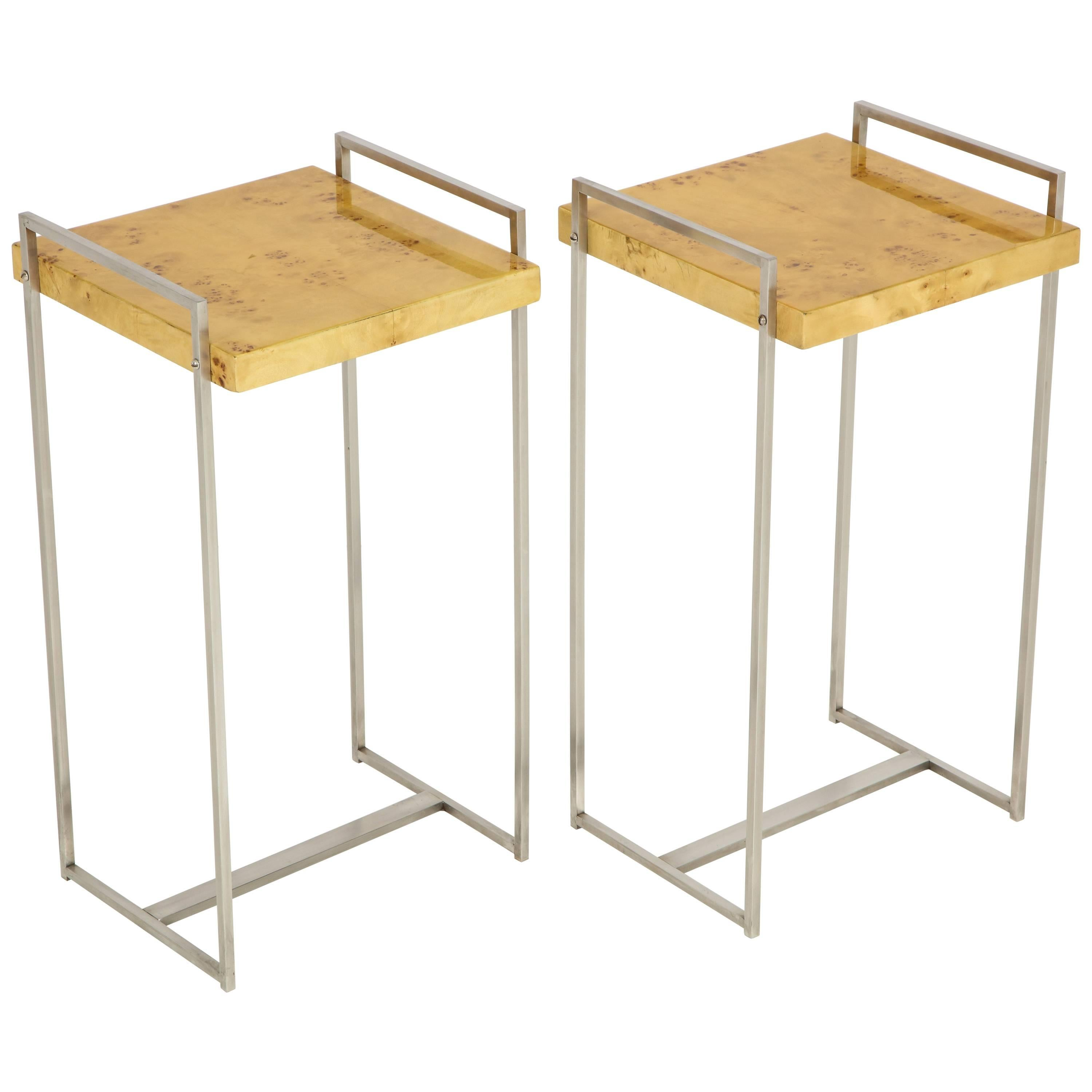 Pair Of Steel Side Tables Or End Tables With Birdseye Maple Tops