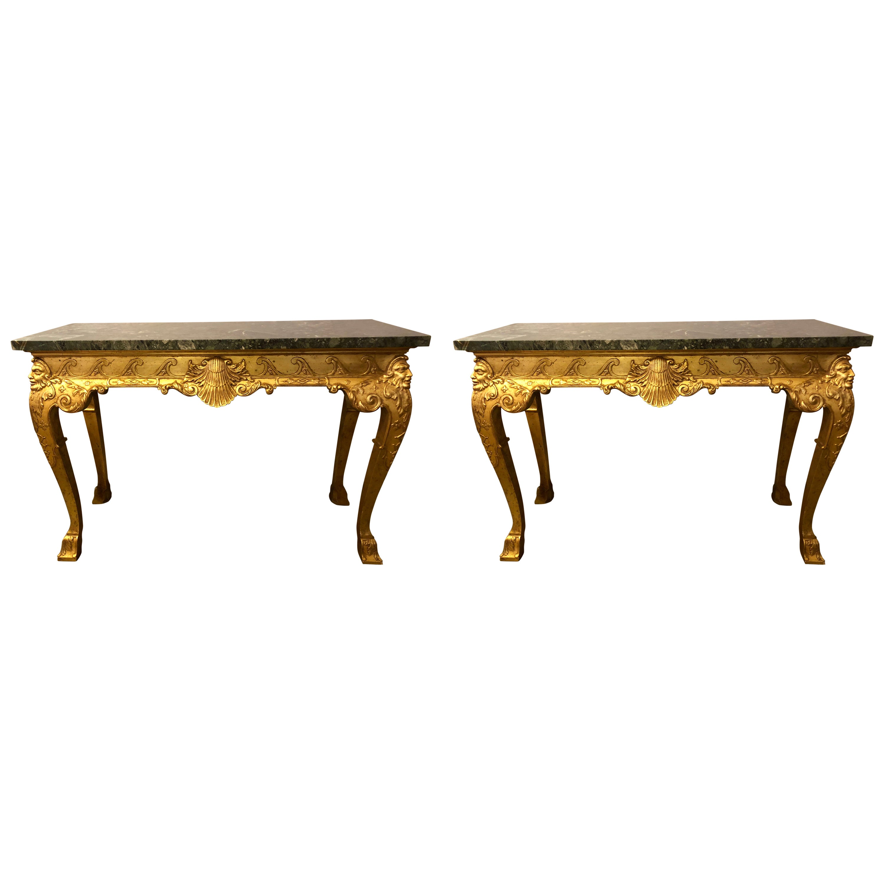 19th Century Pair of George II Style Carved Giltwood Marble Top Console Tables