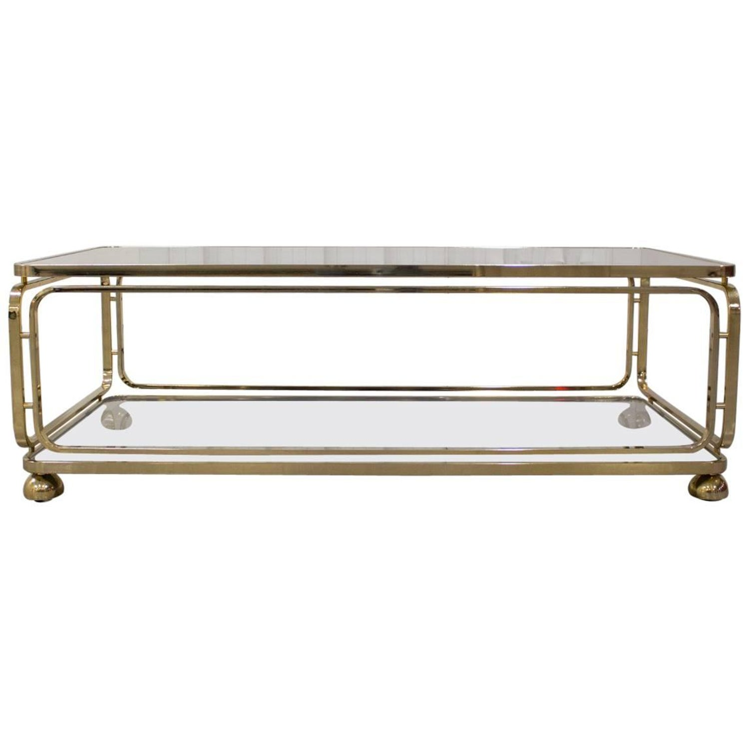 Brass Regency Style Coffee Table With Glass And Mirror Inlay At  # Muebles Curvasa