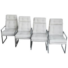 Set of Four 1970s Chrome High Back Dining Chairs