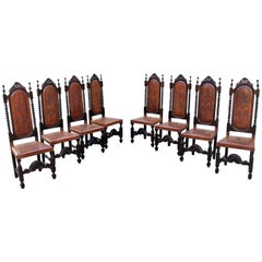 Set of Eight 19th Century French Louis Xlll Style Leather Dining Chairs