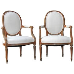 Pair Of Louis XVI Style Fauteuil Armchairs In French Linen