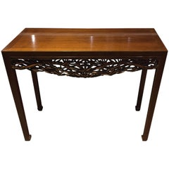 Teak Console Table with Hand-Carved Asian Motifs