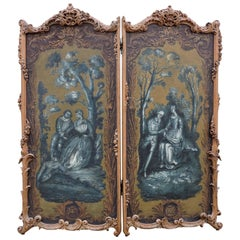 Pair of Louis XV Style Wood and Pastoral Paintings Two-Leaf Folding Screens