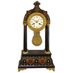 French Mantel Clock with Boulle Style Decoration