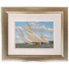 """""""Racing off Norris Castle"""" Nautical Painting by Stephen J. Renard"""