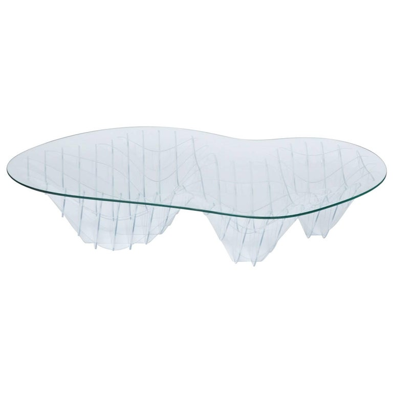 Sculptural Lucite and Glass Coffee Table by Sam Poulos