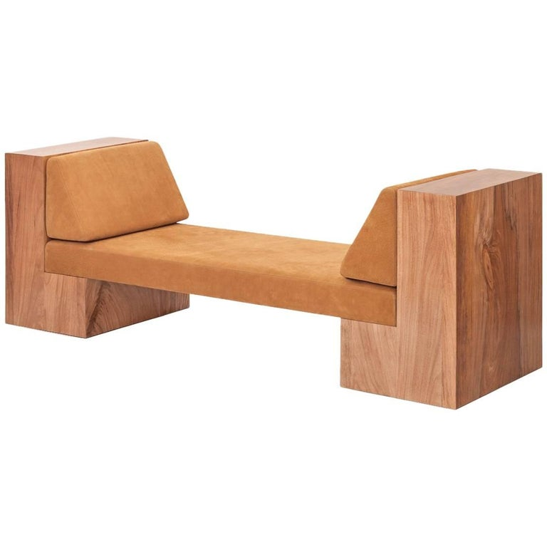 INI Daybed in Solid Wood and Natural Leather For Sale
