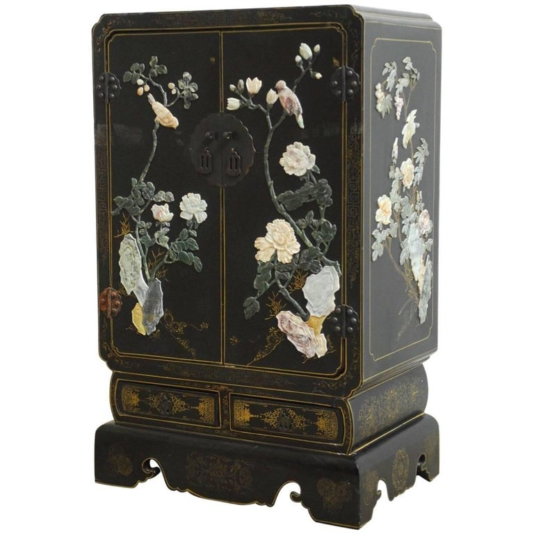 Chinese black lacquer soapstone scholar 39 s cabinet for sale for Chinese black lacquer furniture