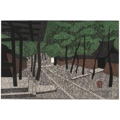 Japanese Block Print by Kiyoshi Saito Zen Temple Garden