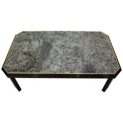 Fedam Black Lacquered and Brass Coffee Table with Green Marble Top