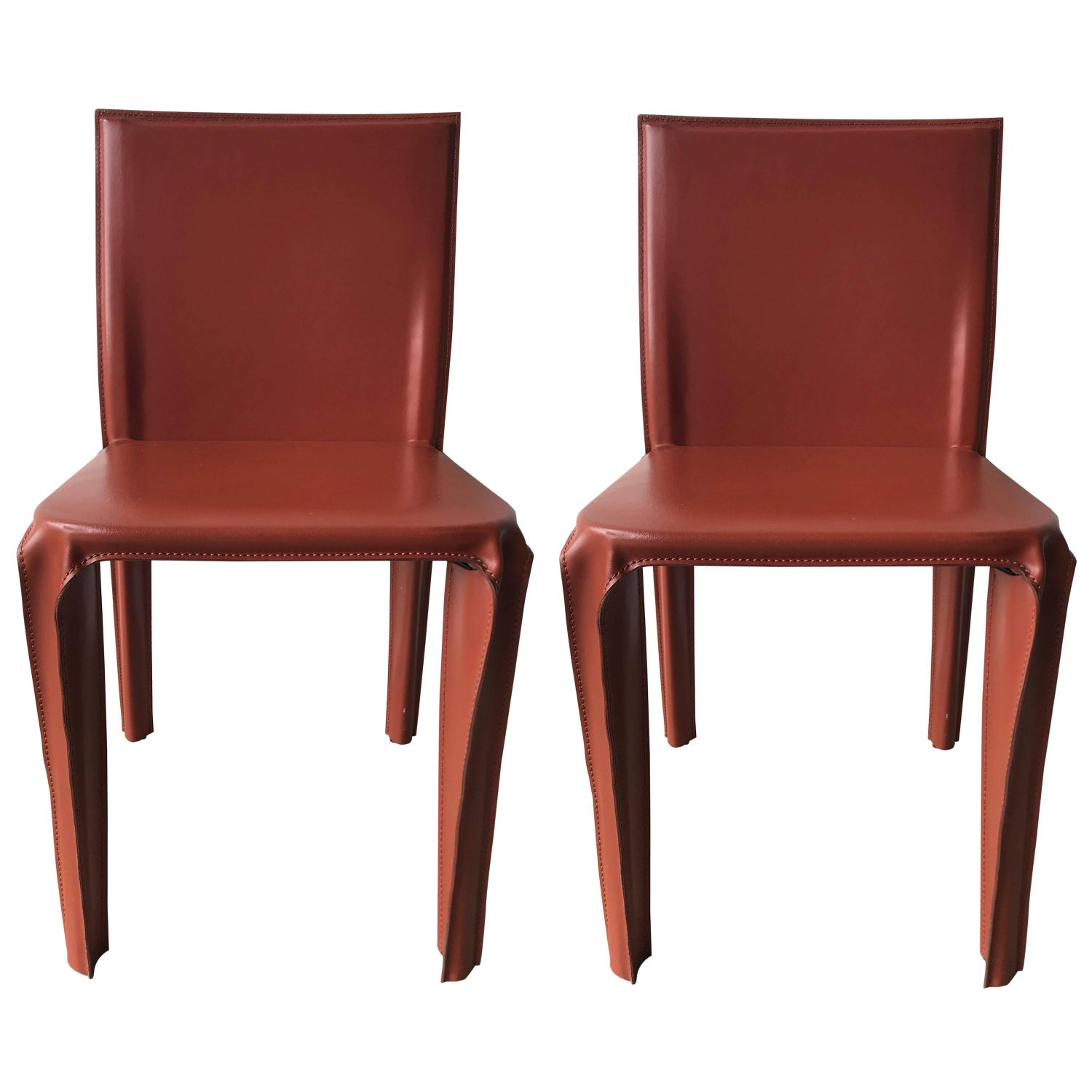 Pair Of Red Leather Chairs By Arper Italy
