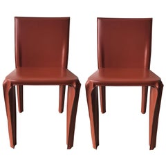 Pair of Red Leather Chairs by Arper, Italy