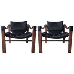 "Pair of Black ""Safari"" Chairs by Maurice Burke for Arkana"