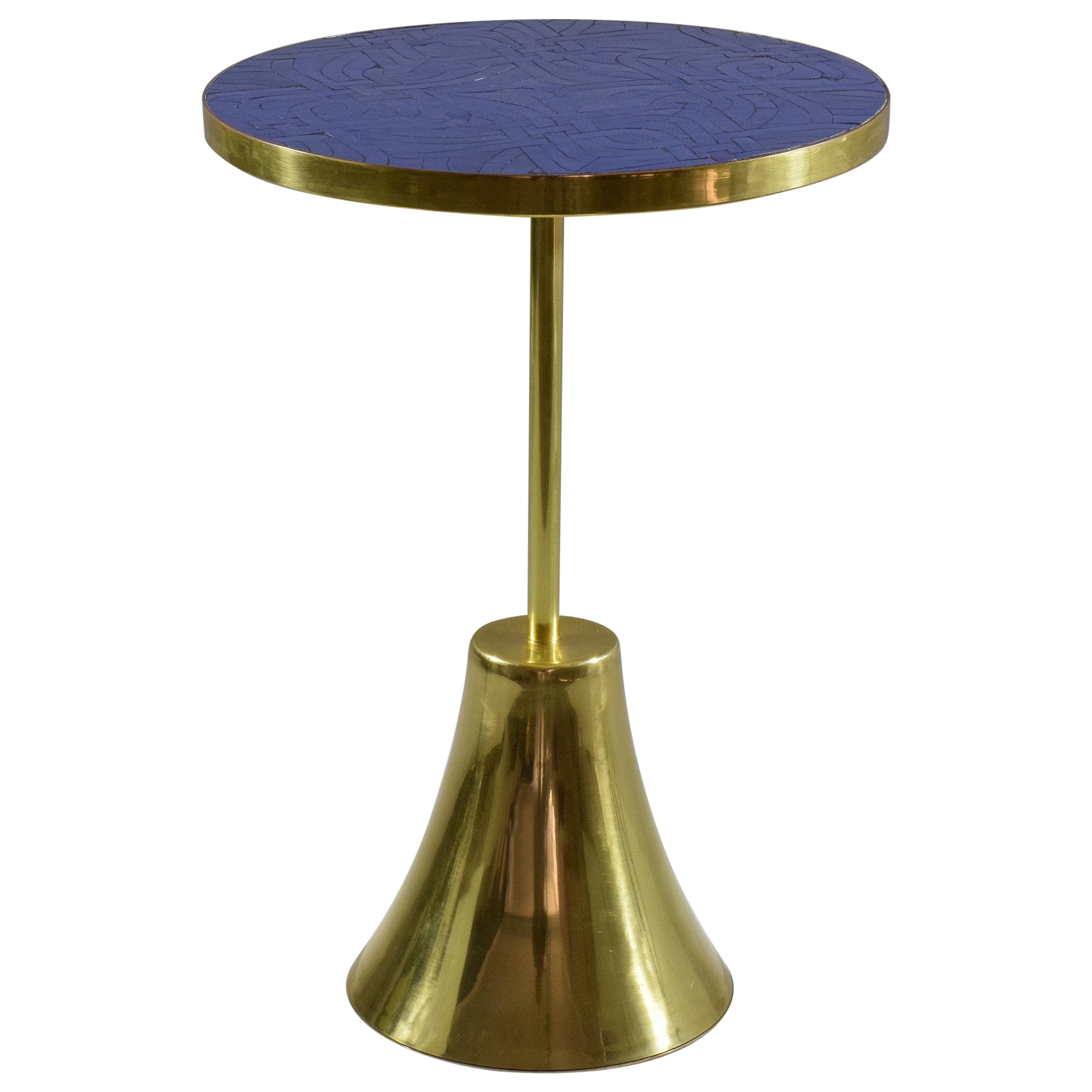 Z-II-I Contemporary Brass Mosaic Side Table, Flow Collection