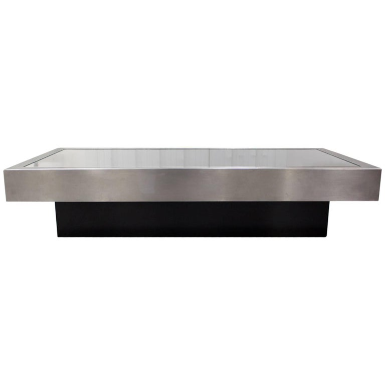 Black Glass And Chrome Coffee Table By Willy Rizzo 1970s For Sale At 1stdibs