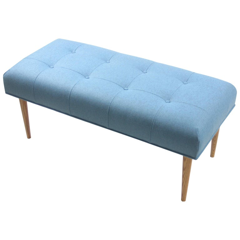 Modern Button Tufted Bench Upholstered in Heathered Blue with Oak Spindle Legs