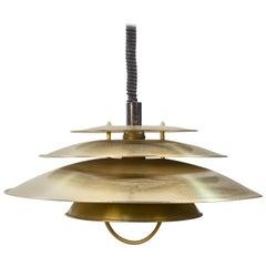 Danish Brass Pendant Lamp Attributed to Jeka