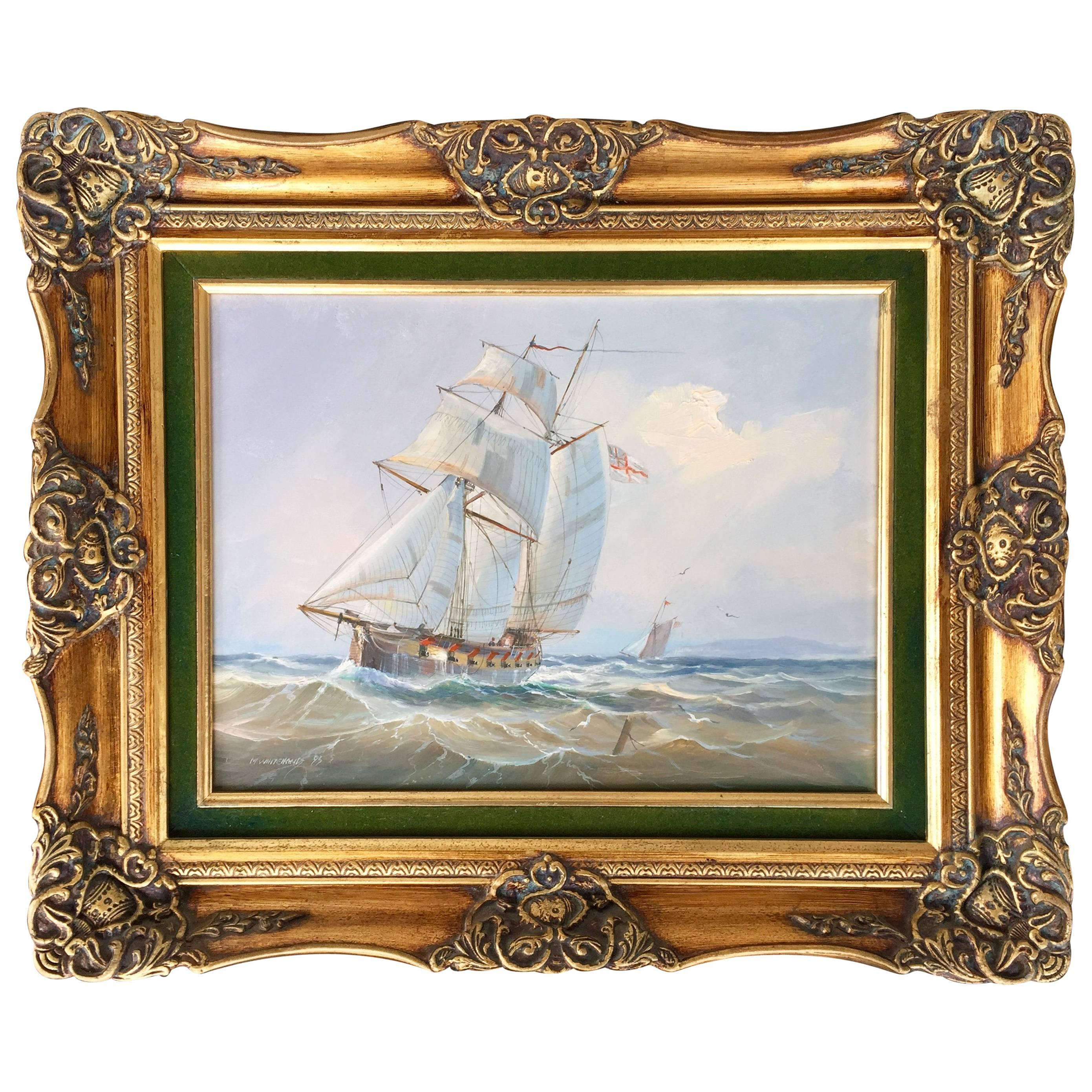 """""""Cannons on Display"""" Painting of a British Ship by Michael Whitehand"""